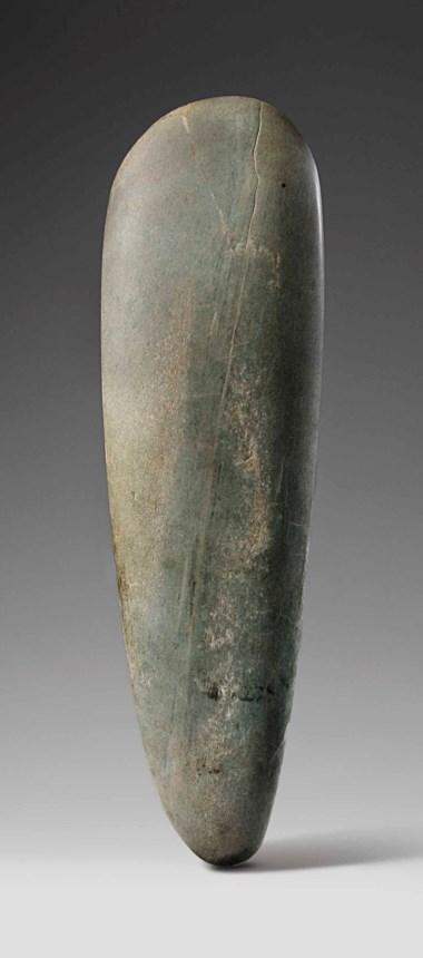 Olmec ceremonial jadeite celt, Preclassic, circa 900-600 B.C. Height 37.2 cm (14⅝  in). Sold for €10,000 in A Quantum of History The Prigogine Collectionon 9 April 2018  at Christie's in Paris