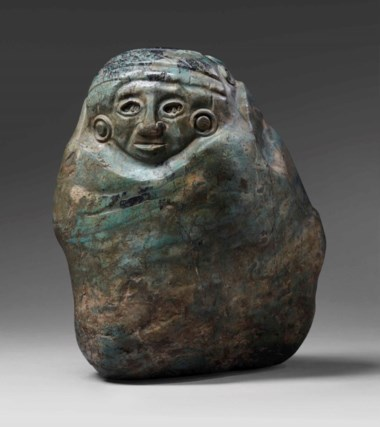 Aztec jadeite deity, circa 1400-1521 A.D. Height 25.5  cm (10  in). Sold for €25,000 in A Quantum of History The Prigogine Collectionon 9 April 2018  at Christie's in Paris