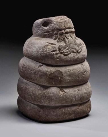 Aztec stone snake, circa 1400-1521 A.D. Height 38 cm