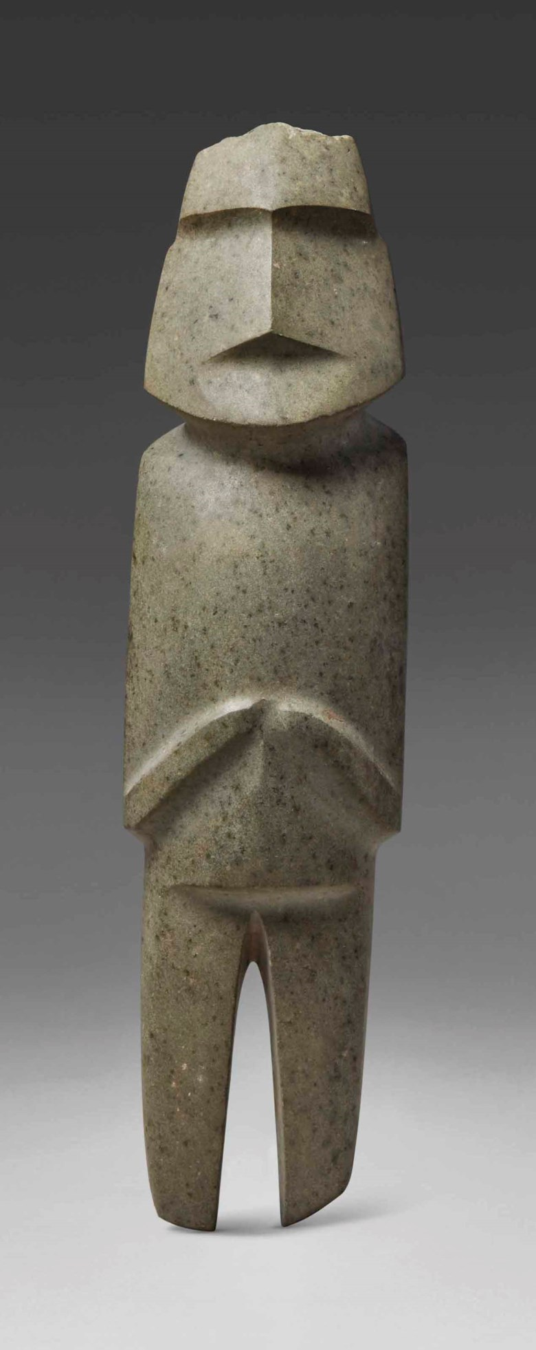 Imposing Mezcala stone figure, Type M10, Preclassic, circa 300-100 B.C. Height 33 cm (13  in). Sold for €439,500 in A Quantum of History The Prigogine Collection on 9 April 2018  at Christie's in Paris