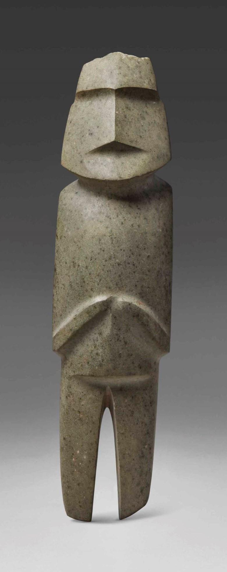 Imposing Mezcala stone figure, Type M10, Preclassic, circa 300-100 B.C.Height 33 cm (13  in). Sold for €439,500 in A Quantum of History The Prigogine Collectionon 9 April 2018  at Christie's in Paris