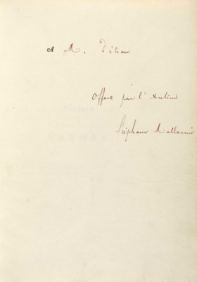 MALLARME, Stéphane (1842-1898) Préface à Vathek Réimprimé su