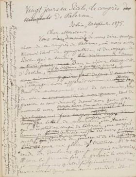 RENAN, Ernest (1823-1892) Vingt Jours en Sicile Le Congrès d