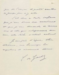 DE GAULLE, Charles (1890-1970). Lettre autographe signée « C. de Gaulle » à la journaliste Louise Weiss, datée 1er décembre 1949.