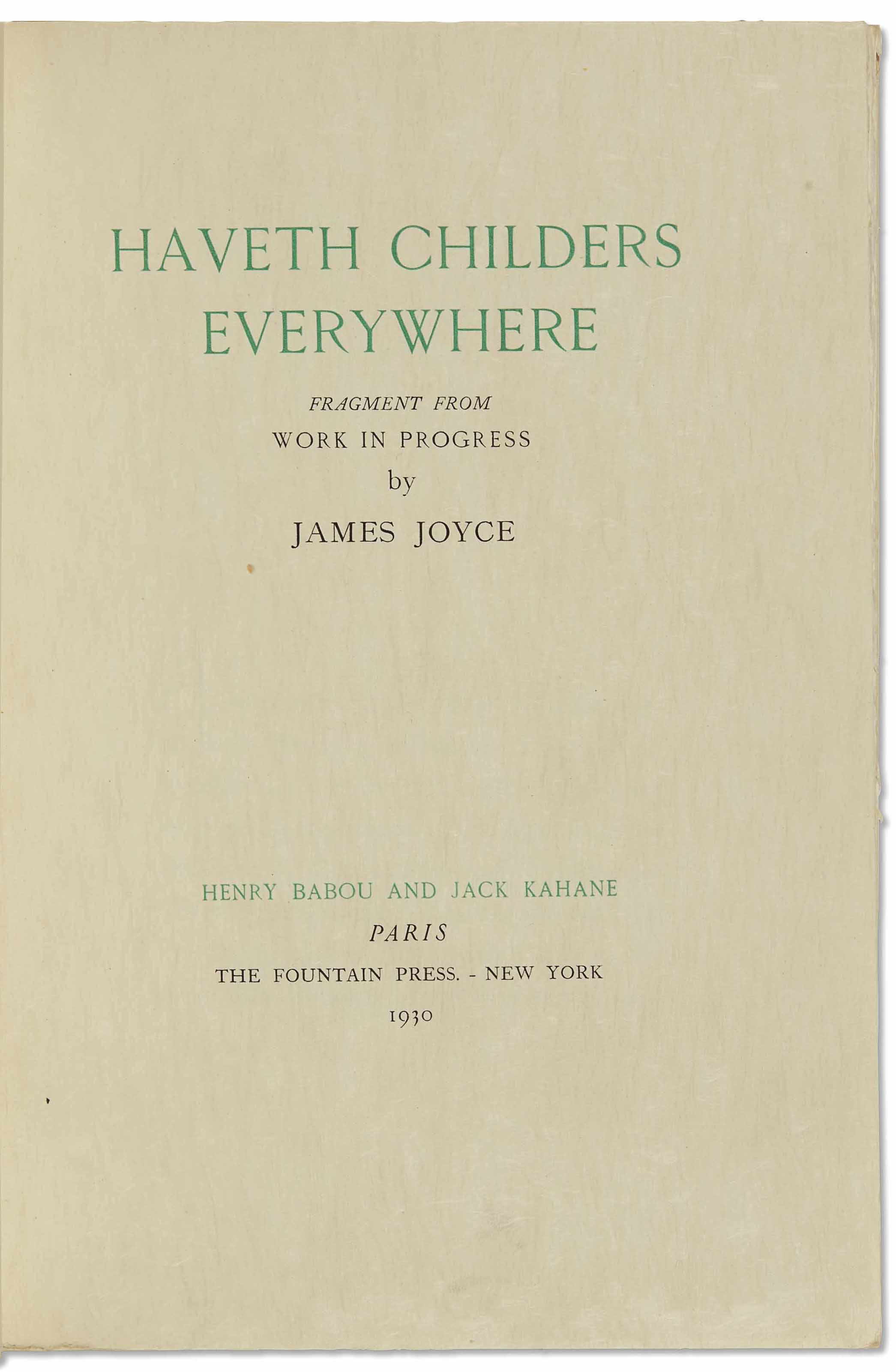 JOYCE, James (1882-1941) H
