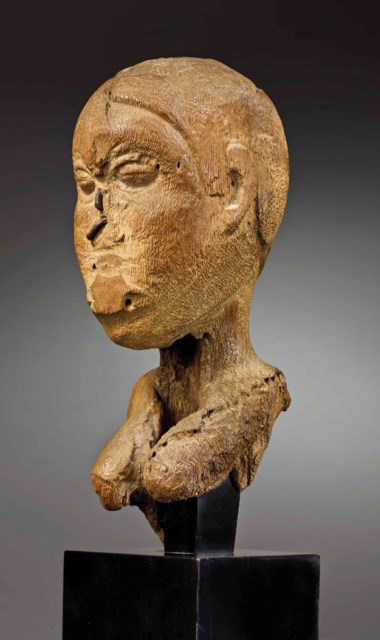 The Albright-Knox Fon bust of a priestess, Republic of Benin, base Kichizô Inagaki (1876-1951). Height 25.5 cm (10 in). Estimate €500,000-800,000. Offered in Future Perfect The African Art Collection of Liliane and Michel Durand-Dessert on 27 June 2018 at Christie's in Paris