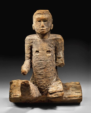 The Durand-Dessert Mbembe figure, Ewayon River region, Cross River State, Nigeria . Height 75  cm (29½  in). Estimate €2,000,000-3,000,000. Offered in Future Perfect The African Art Collection of Liliane and Michel Durand-Dessert on 27 June 2018 at Christie's in Paris