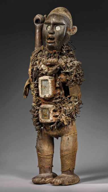 A Kongo-Yombe power figure, Nkisi Nkondi, Democratic Republic of Congo. Height 95 cm (37½ in). Estimate €600,000-1,000,000. Offered in Future Perfect The African Art Collection of Liliane and Michel Durand-Dessert on 27 June 2018 at Christie's in Paris