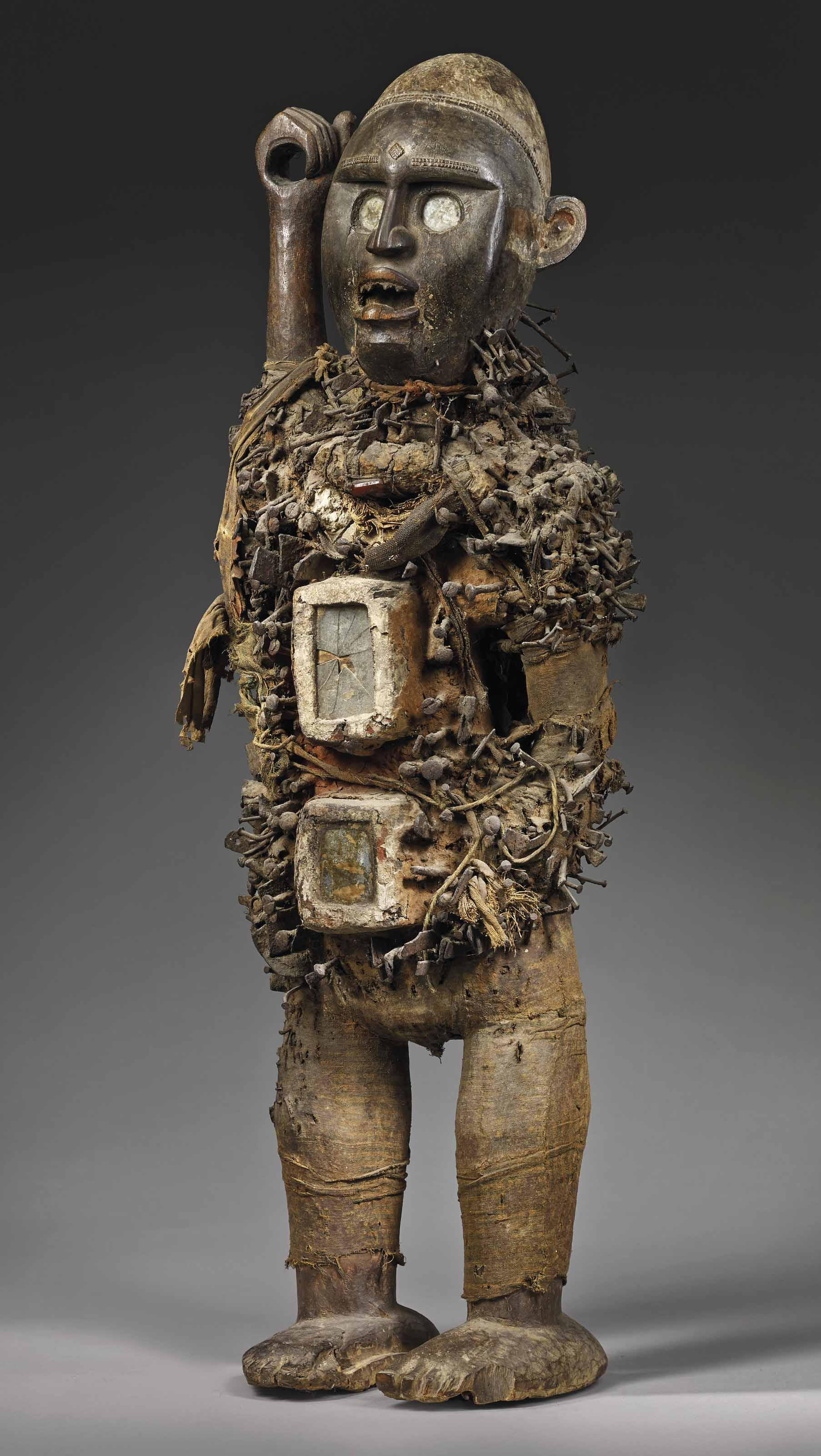 AKongo-Yombe nkisi nkondi statue,Democratic Republic of Congo— a work in which some see a resemblance to Basquiat's Warrior. Height 95 cm (37½ in). Sold for €727,500 on 27 June 2018 at Christie's in Paris
