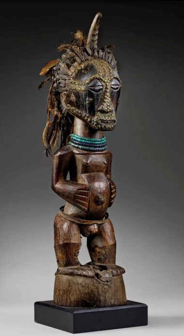 A Songye community power figure, Eki region. Height 100  cm (39¼  in). Estimate €300,000-500,000. Offered in Future Perfect The African Art Collection of Liliane and Michel Durand-Dessert on 27 June 2018 at Christie's in Paris