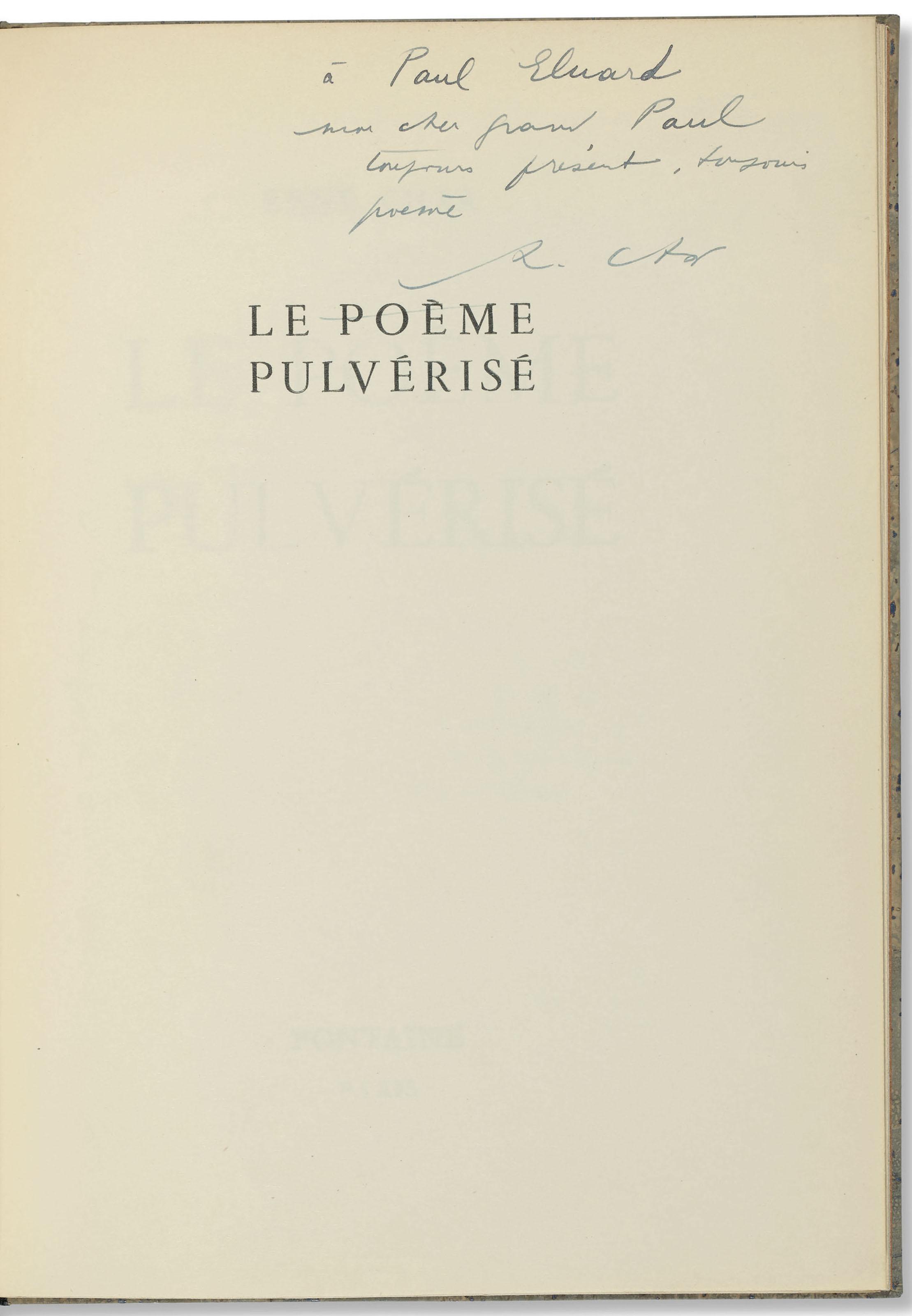 Char René 1907 1988 Le Poème Pulvérisé Paris Fontaine