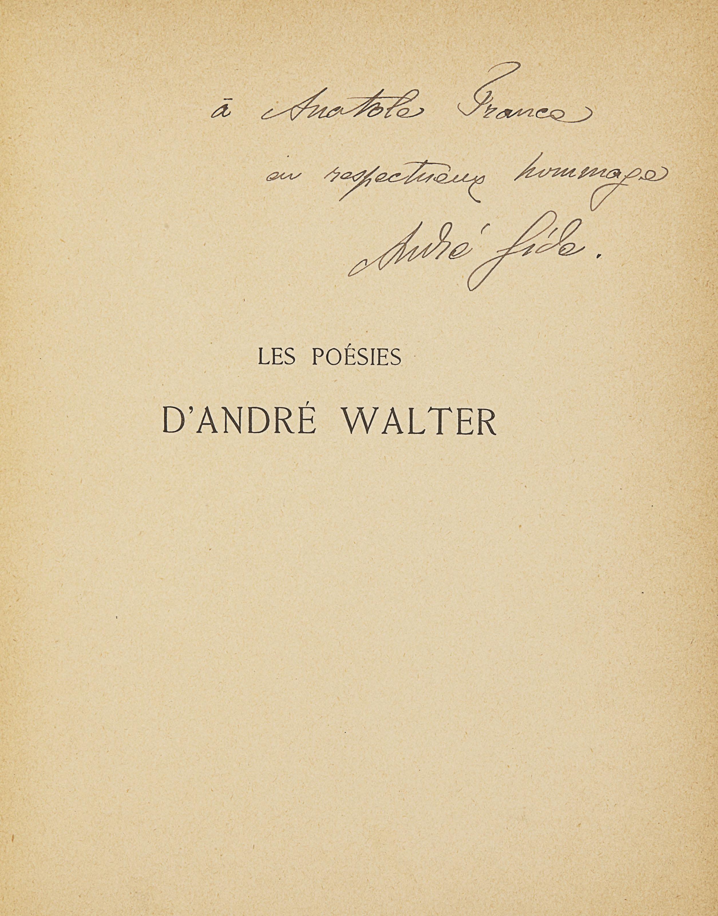 GIDE, André (1869-1951). Les Poésies d'André Walter. Paris : Librairie de l'art indépendant, 1892.