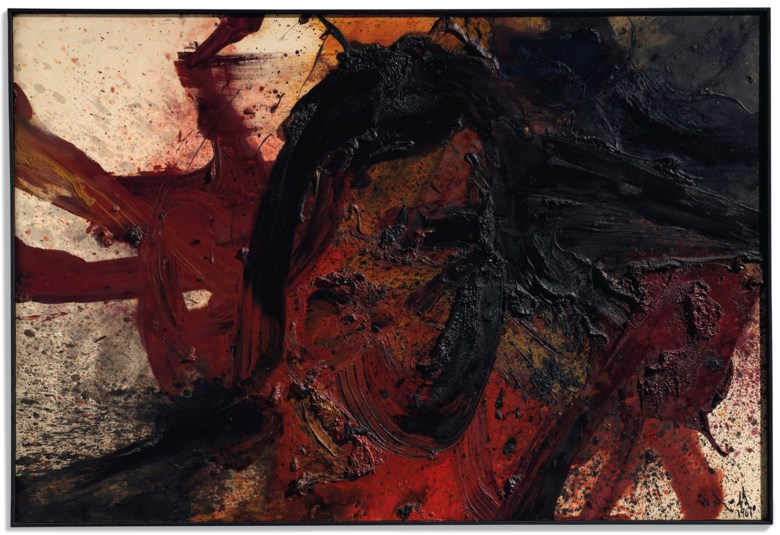 Kazuo Shiraga (1924-2008), Chigakusei Tekkyoshi, painted in 1961. 130.5 x 194  cm. Estimate €1,500,000-2,500,000. Offered in Paris Avant-Garde on 17 October 2018 at Christie's in Paris