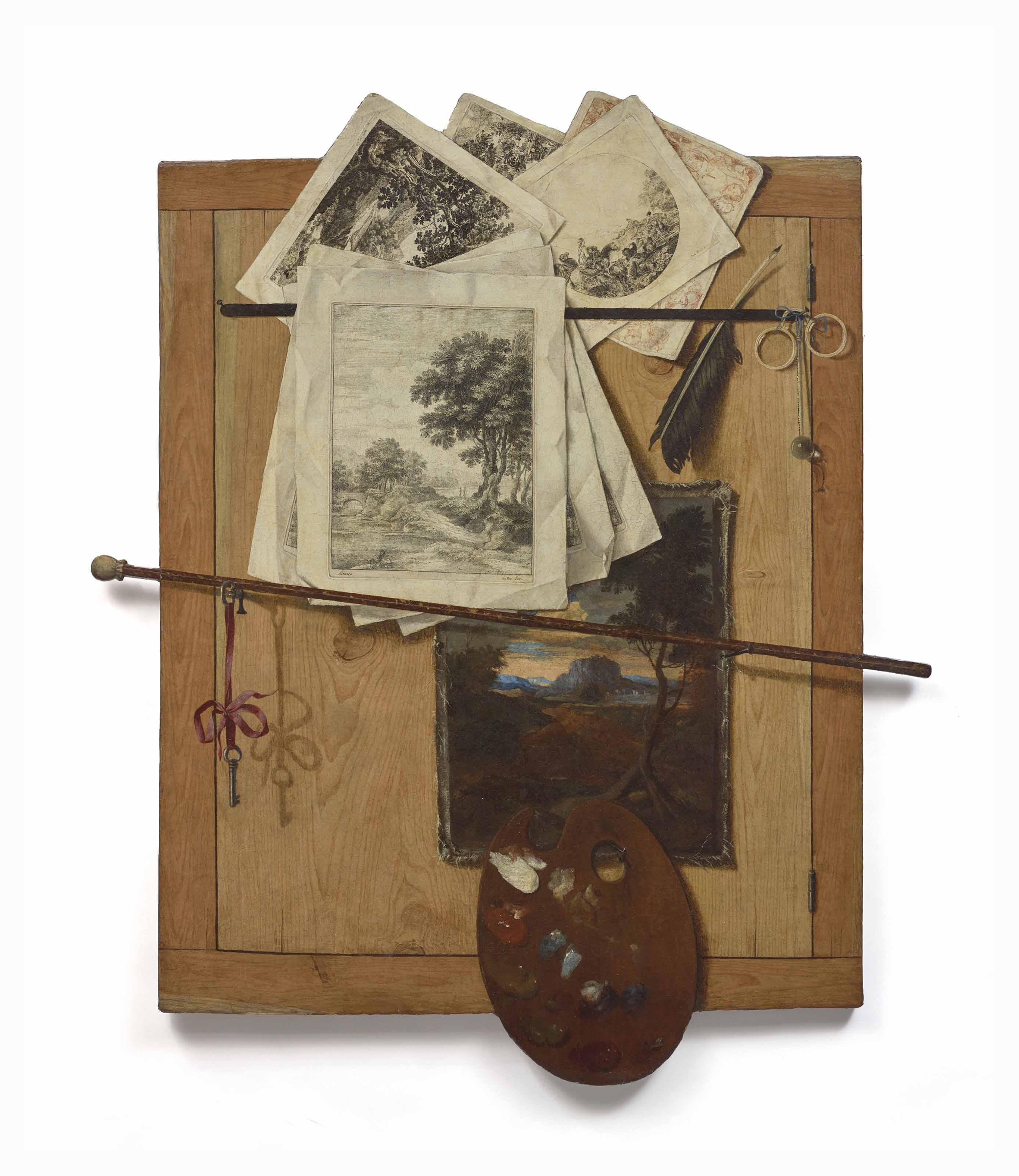Trompe-l'œil aux instruments du peintre et aux gravures