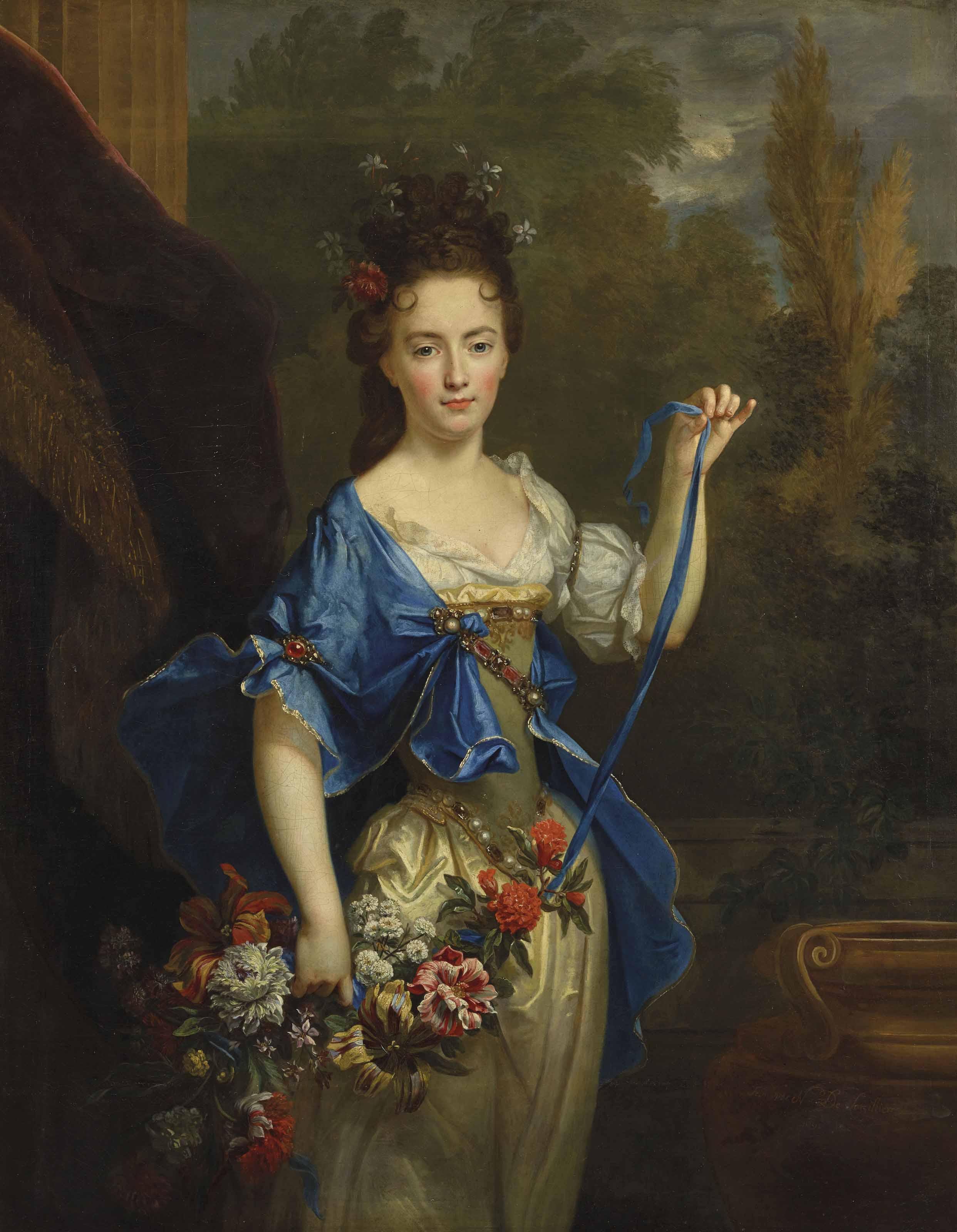 Portrait présumé de Madame de Harlay, tenant une guirlande de fleurs