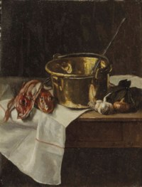 Nature morte au chaudron en cuivre et poissons