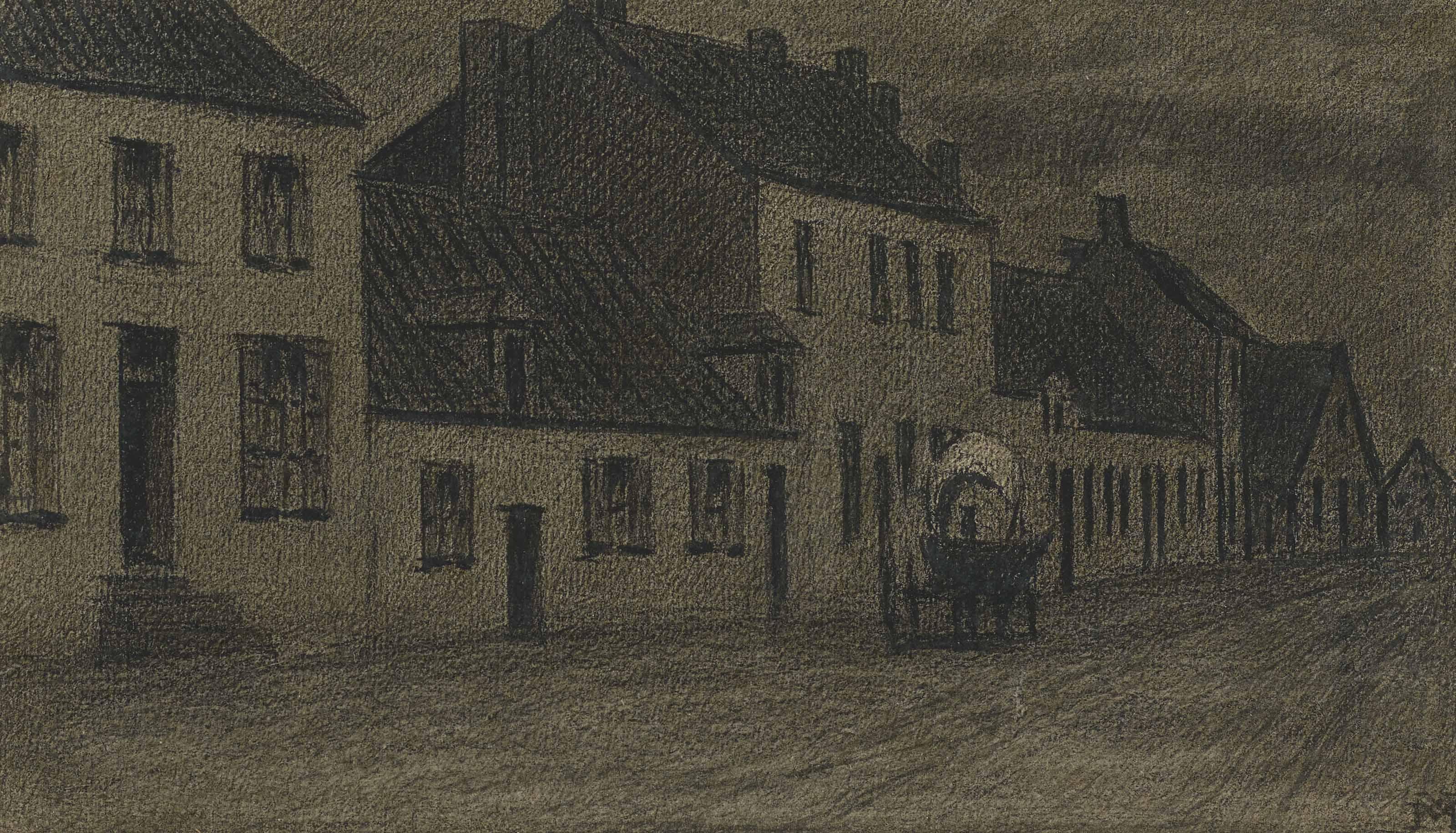 Calèche traversant une rue bordée de maisons