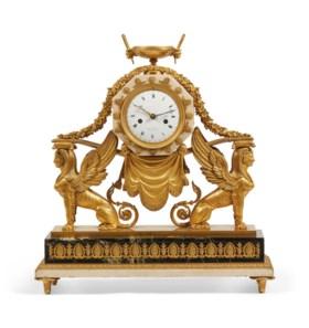 帝國時期銅鎏金大理石座鐘,簽名:FORT,十九世紀初製