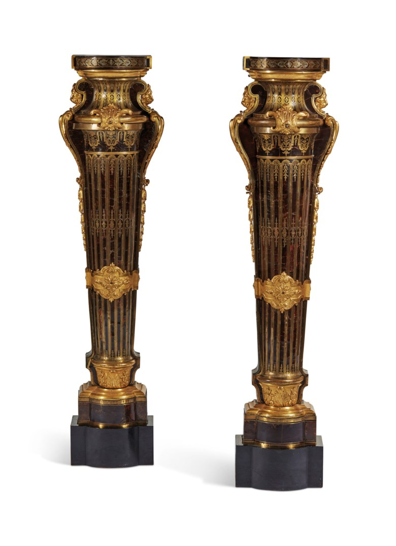 A pair of Louis XIV pedestals, by André Charles Boulle, beginning of the 18th century.  Height 129  cm (50¾  in); length 27  cm (10½  in). Estimate €500,000-800,000. Offered in The Collection of Juan de Beistegui on 10 September at Christie's in Paris