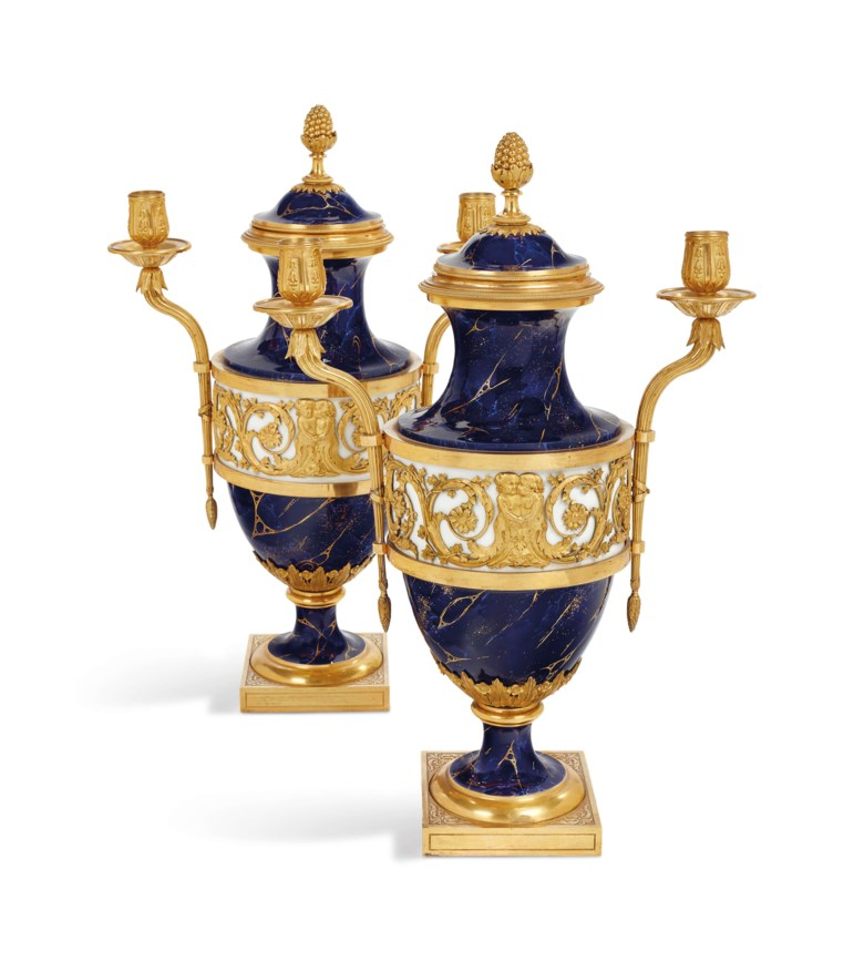 A pair of imperial Sèvres vases forming girandoles, 1782. Height 47  cm (18  in); length 31.5  cm (12½  in). Estimate €300,000-500,000. Offered in The Collection of Juan de Beistegui on 10 September at Christie's in Paris