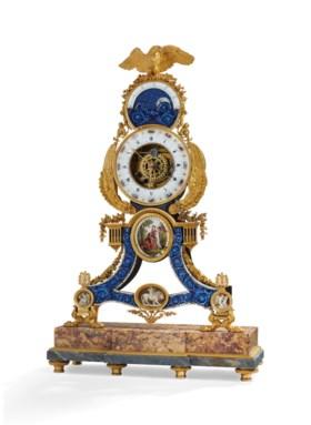 路易十六時期銅鎏金搪瓷鏤空時鐘,簽名:JOSEPH COTEAU(搪瓷上),十八世紀末製