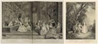 WATTEAU, Antoine (1684-1721). Figures de différents caractères de paysage et d'études, dessinées d'après nature...gravées à l'eau-forte par les plus habiles peintres et graveurs du temps. Paris : Audran et Chereau, [1726-1728]. [-avec :] WATTEAU, Antoine. L'Oeuvre d'Antoine Watteau...gravée d'après les dessins originaux, tirez du Cabinet du Roi et des plus curieux de l'Europe, par les soins de M. de Jullienne. Paris : sans lieu [1735].