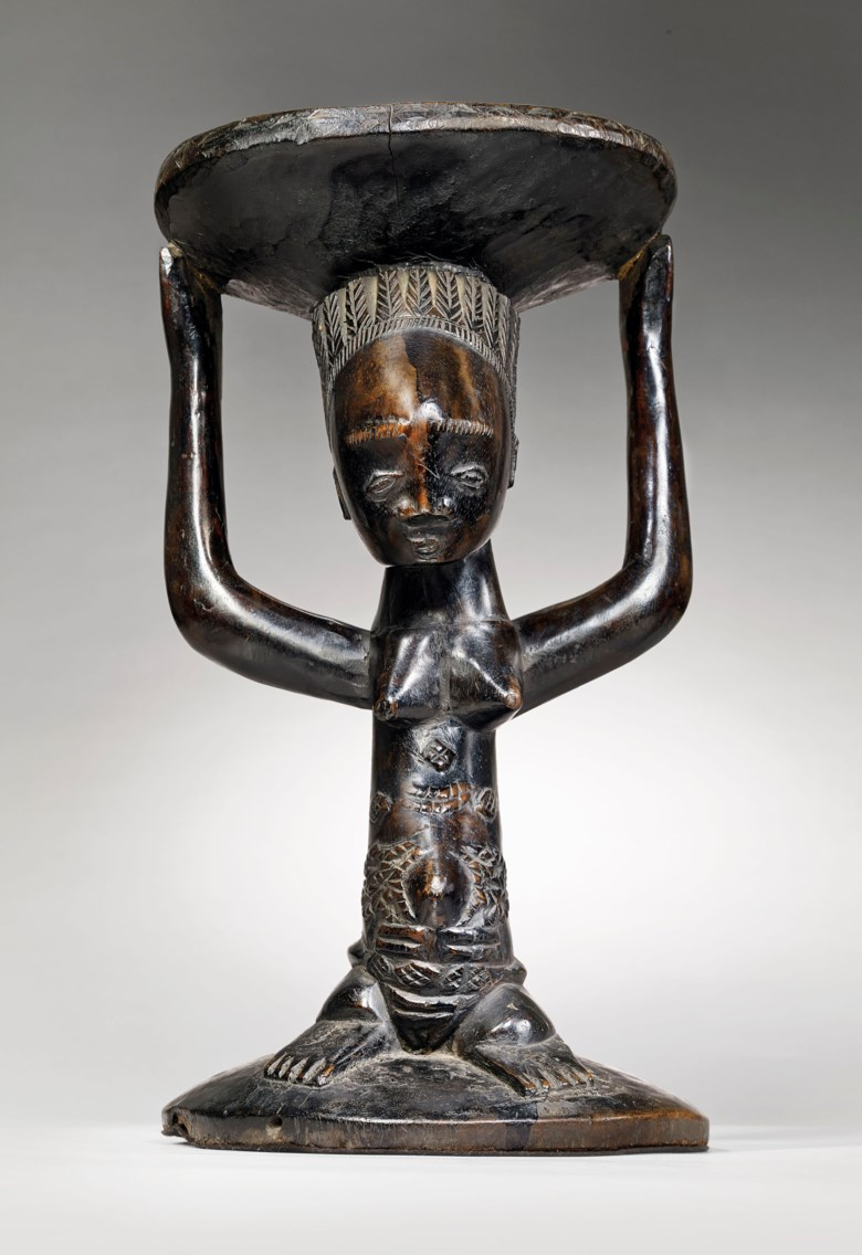 A Luba caryatid stool, Congo. Height 46  cm (18⅛  in). Estimate €300,000-500,000. This lot is offered in Masterpieces of African and Oceanic Art from the Adolphe Stoclet Collectionon 30 October 2018 at Christie's in Paris