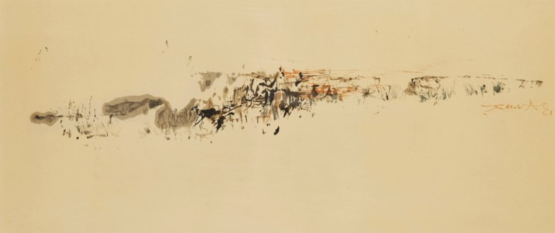 Zao Wou-Ki (1920-2013), Untitled, 1961. 26 x 63  cm. Estimate €5,000-7,000. Offered in Post-war and Contemporary art on 5 December 2018 at Christie's in Paris