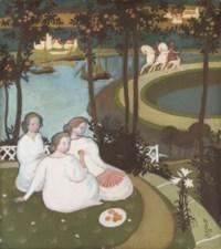 Légende de chevalerie ou Trois jeunes princesses (Première version à la gouache)