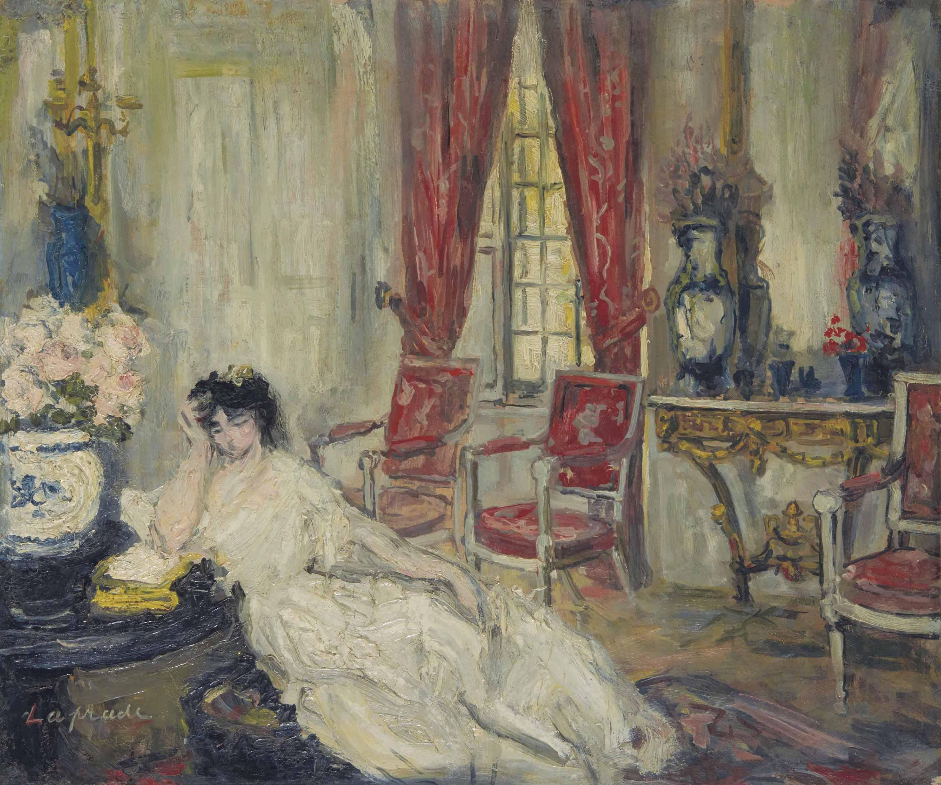 La femme de l'artiste accoudée dans son salon