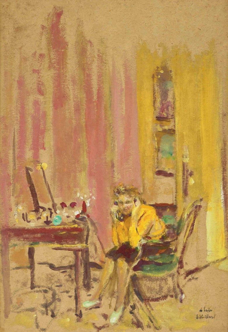 Édouard Vuillard (1868-1940), Lulu au téléphone, rue de Naples, executed in 1937. 38 x 26.7  cm. Estimate €20,000-30,000. This lot is offered in Hommage à la famille Hessel  mécènes et modèles on 23 March 2018  at Christie's in Paris