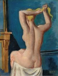 Baigneuse de dos, se coiffant, 1919