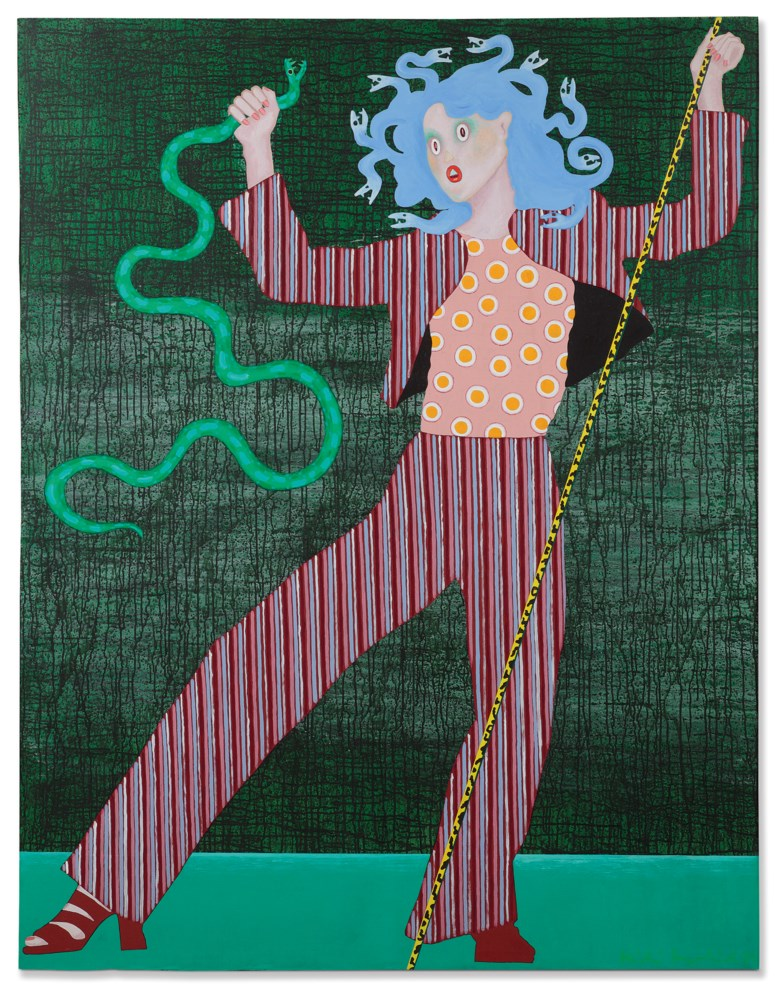 Kiki Kogelnik (1935-1997), Superserpent, 1974. Oil and acrylic on canvas. 195 x 150 cm. Estimate €15,000-20,000. Offered in Post-War & Contemporary Art on 25-26 November 2019 at Christie's in Amsterdam