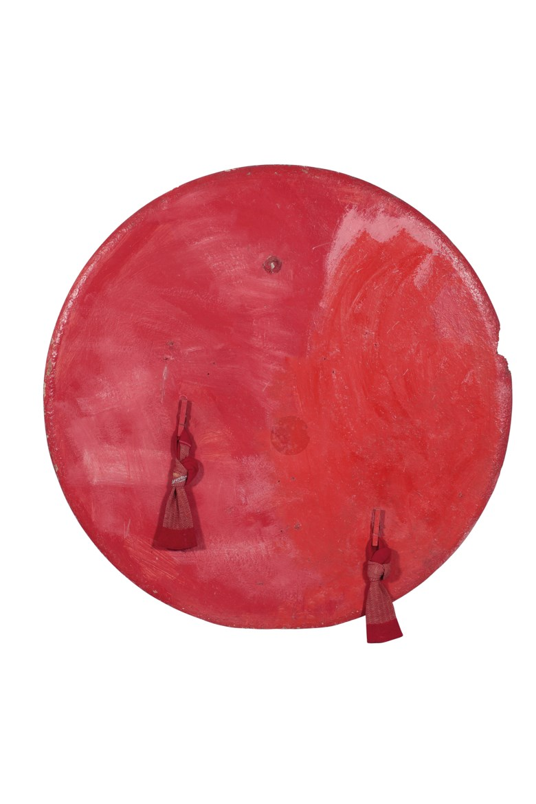 Franz West (1947-2012), Untitled, circa 1972-1973. Acrylic, socks, wooden pegs and mixed media collage on chipboard. Diameter 99 cm. Estimate €55,000-75,000. Offered in Post-War & Contemporary Art on 25-26 November 2019 at Christie's in Amsterdam