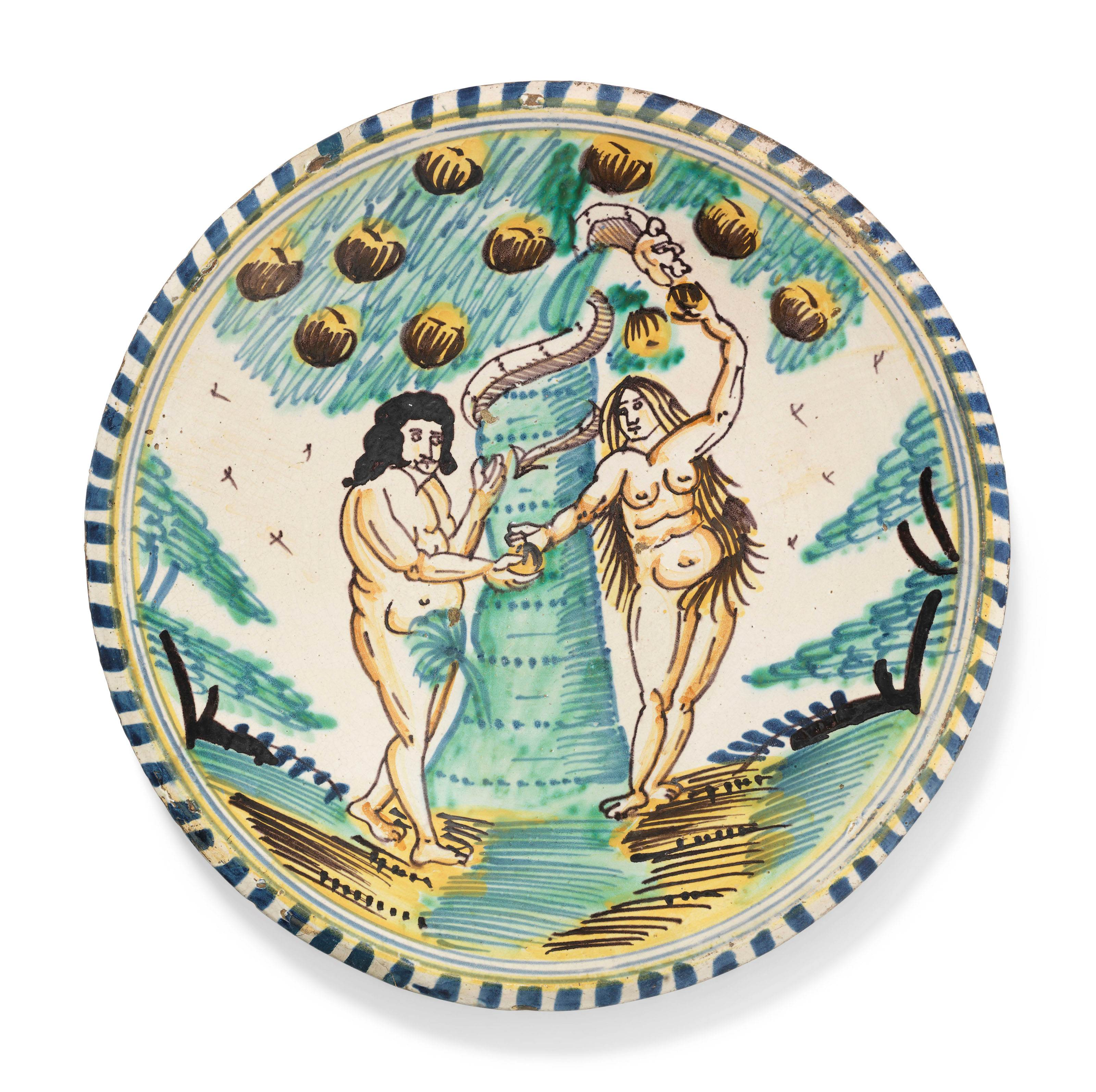 AN ENGLISH DELFT BLUE-DASH 'ADAM AND EVE' CHARGER