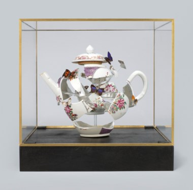Bouke de Vries (b. 1960), Deconstructed teapot with butterflies, 2017. 11⅞  in (30.3  cm) high. Estimate £4,000-6,000. Offered in Reshaped Ceramics Through Time on 21 May 2019 at Christie's in London