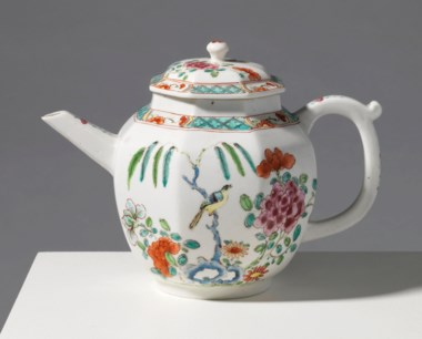 A Chelsea porcelain octagonal teapot and cover, circa 1750. 5  in (12.6  cm) high. Estimate £15,000-20,000. Offered in Reshaped Ceramics Through Time on 21 May 2019 at Christie's in London