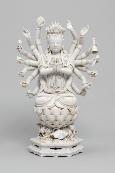 A Dehua blanc-de-chine figure of Guanyin, Qing dynasty (1644-1911). 18⅛  in (46  cm) high. Estimate £15,000-25,000. Offered in Reshaped Ceramics Through Time on 21 May 2019 at Christie's in London