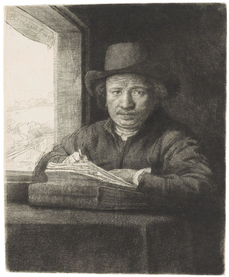 Rembrandt Harmensz van Rijn (1606-1669), Self-Portrait etching at a Window. Etching and drypoint, 1648, on laid paper, without watermark. Plate & Sheet 161 x 132 mm. Offered in  Three Northern Masters , 27 June to 3 July 2019, Online, and sold for £10,625