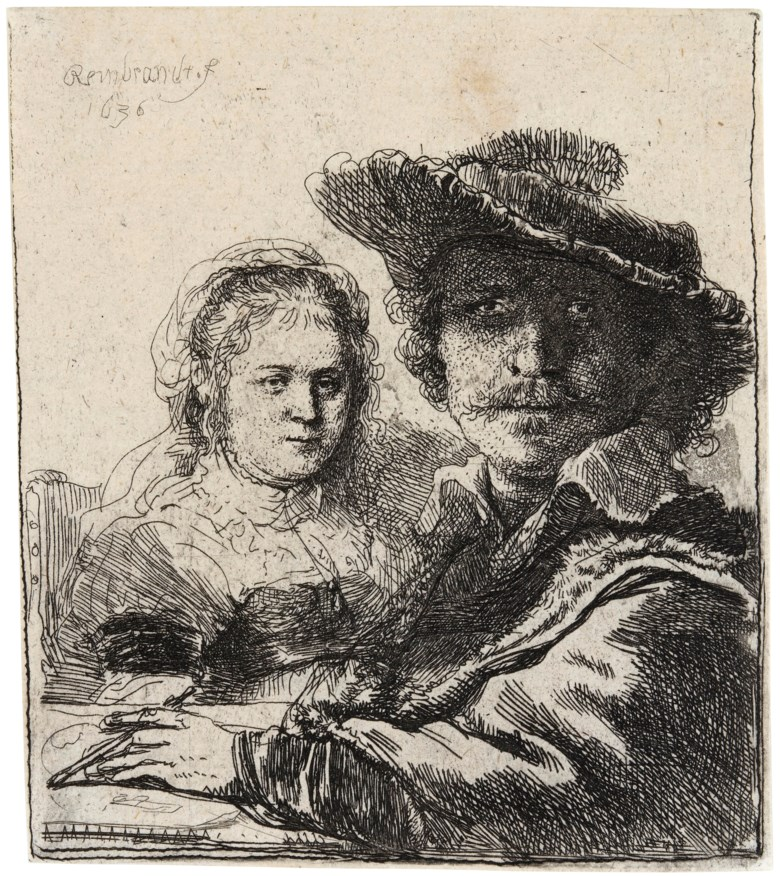 Rembrandt Harmensz van Rijn (1606-1669), Self-Portrait with Saskia. Etching, 1636, on laid paper, without watermark. Plate & Sheet 103 x 91 mm. This lot was offered in  Three Northern Masters , 27 June to 3 July 2019, Online, and sold for £6,875