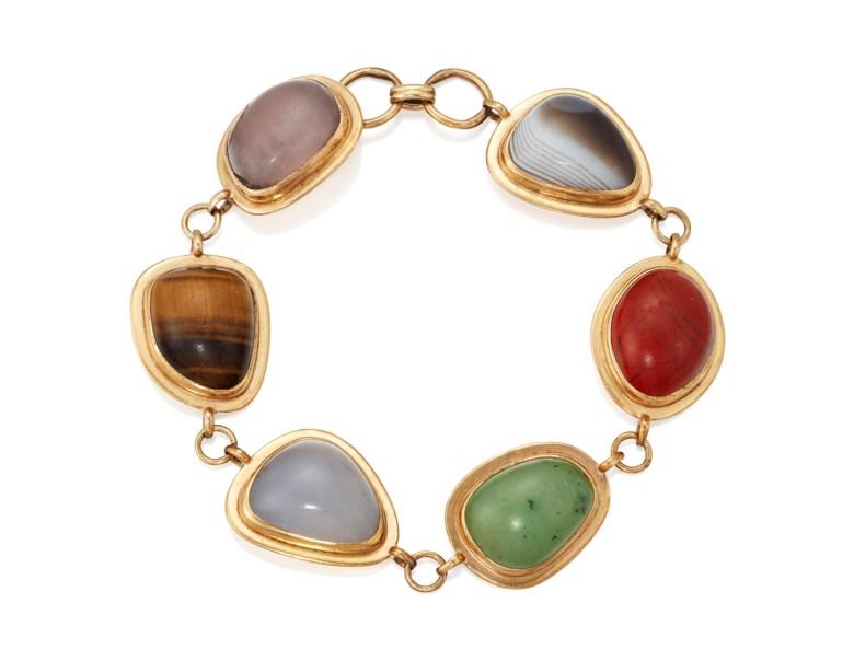 A hardstone 'pebble' bracelet, 1960s. 20.5 cm. Sold for £40,000 on 8 May 2019 online