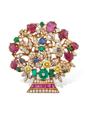 MULTI-GEM AND DIAMOND BROOCH
