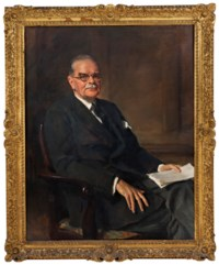 Portrait of Sir Patrick Ashley Cooper (1887-1961), seated three-quarter length in a grey suit