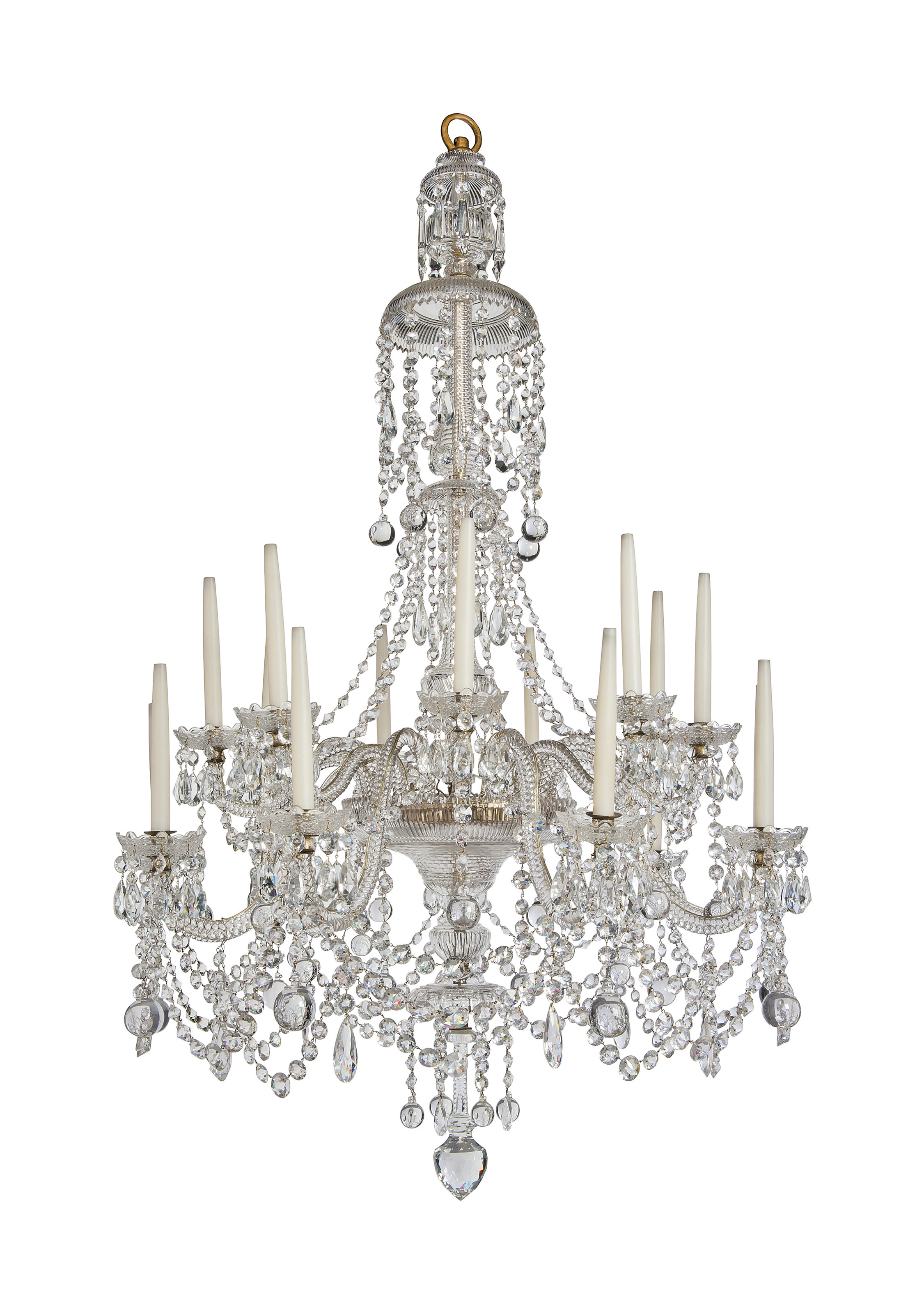 A VICTORIAN CUT-GLASS EIGHTEEN-LIGHT CHANDELIER
