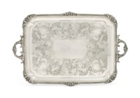 AN EDWARD VII SILVER TWO-HANDLED TRAY