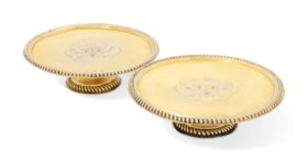 TWO WILLIAM AND MARY SILVER-GILT TAZZE