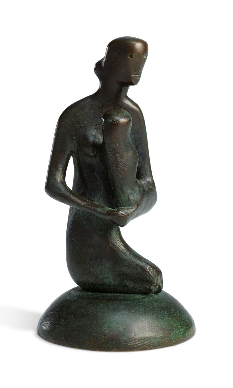 Henry Moore, O.M., C.H. (1898-1986), Mother and Child Gothic, conceived in 1975. Bronze with a brown and green patina. 7½  in (19  cm) high. Estimate £30,000-50,000. Offered in Modern  British & Irish Art on 9 April 2019 at Christie's in London