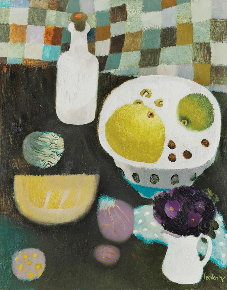 Mary Fedden, R.A. (1915-2012), A Bowl of Fruit and Violets, 1976. 30 x 24  in (75.9 x 61.5  cm). Estimate £12,000-18,000. Offered in Modern  British & Irish Art on 9 April 2019 at Christie's in London