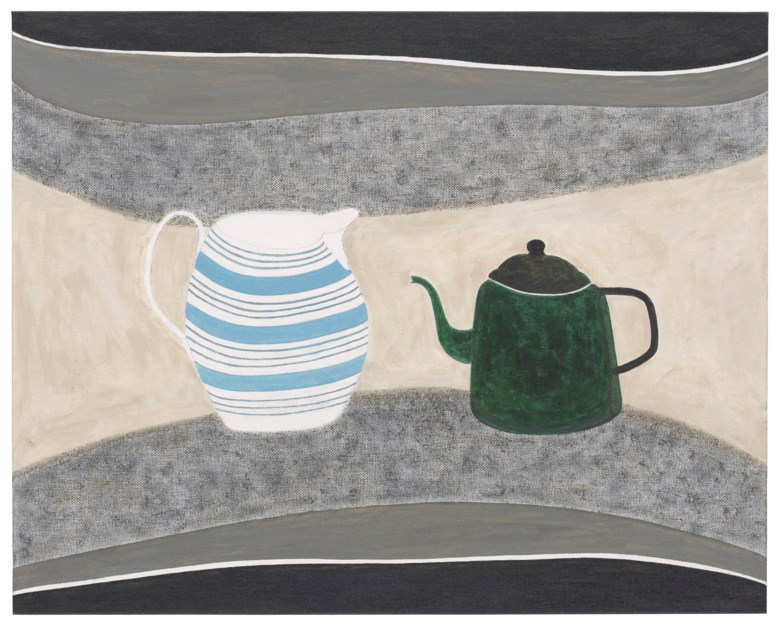 Rachel Nicholson (b. 1934), Still Life with Green and Blue, 2003. 16 x 20  in (40.6 x 50.8  cm). Estimate £2,000-3,000. Offered in Modern  British & Irish Art on 9 April 2019 at Christie's in London
