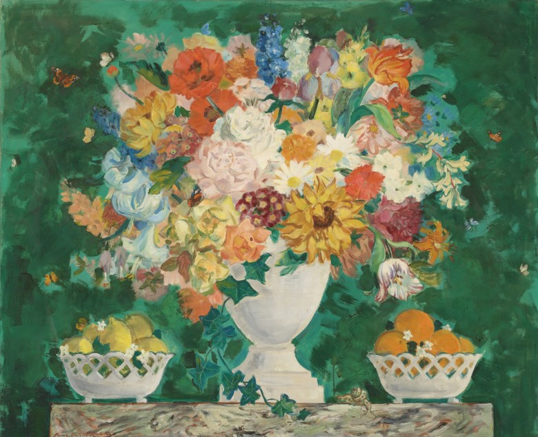 Anne Estelle Rice (1875-1959), Oranges, Lemons and a Vase of Flowers, 1948. 37 x 45  in (94 x 114.3 cm). Estimate £15,000-25,000. Offered in Modern  British & Irish Art on 9 April 2019 at Christie's in London